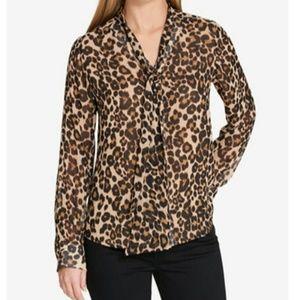 BNWT Tommy Hilfiger Sheer Leopard Print Blouse