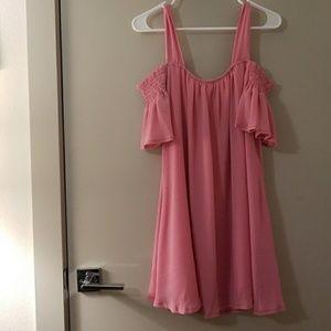 Boohoo Pink Cold Shoulder Dress