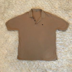 {Burberry} polo tan with grey buttons