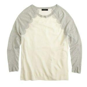 J. CREW Merino Wool Scalloped Baseball Sweater