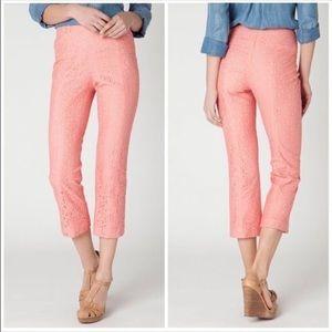 Anthropologie Pink Khaki Pencil Lace Crop Pants 4