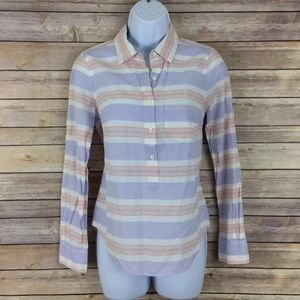 J. Crew Multi Stripe Popover Shirt Top Pastel