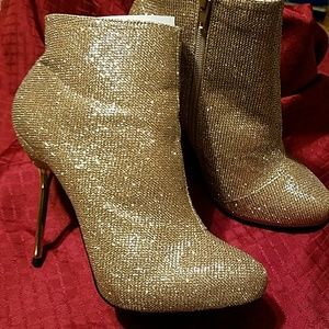 Champagne sequin bootie