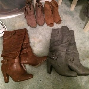 2 pair bundle- brown and grey healed boots