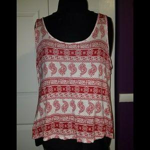 Rue 21 Red & White Crochet Tank Top