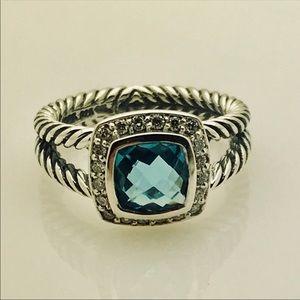 David Yurman Petite Albion Blue Topaz Diamond Ring