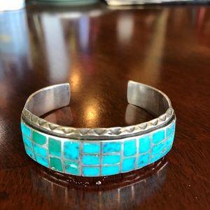 Vintage inset cuff bracelet & ring