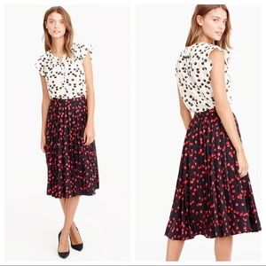 J. Crew Pleated Midi in Cherry Print