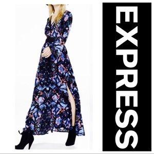 Express Paisley Deep V Bell Sleeve Maxi Dress