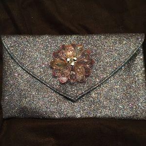 Glitter envelope clutch bag purple gray