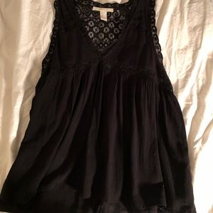 Forever 21 Black Embroidered Tank Top
