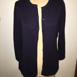 Sz medium talbots outlet 3/4 sleeve cardigan navy