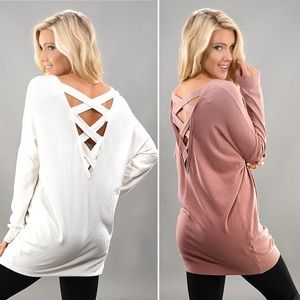 Sweaters - Super Soft Sweater Criss Cross Back Strappy Tunic