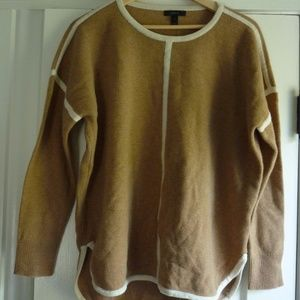 J. Crew tan sweater with cream detailing NWT
