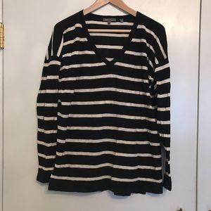 Vince Striped V Neck Sweater 100% Cotton Large