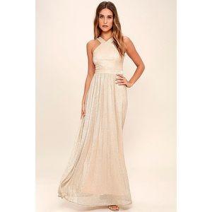 Lulu's Always Moving Gold Maxi Dress XS