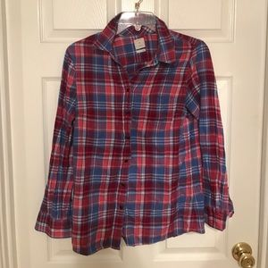 GAP plaid fitted boyfriend shirt