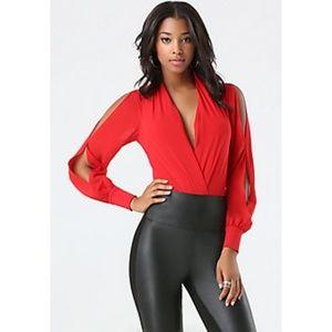 bebe Red Silk Slit Sleeve Wrap Bodysuit