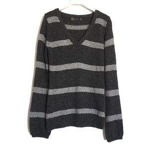 Zara grey striped knit wool blend sweater medium