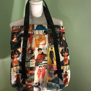 """Cute """"Elle"""" Tote with black patent leather trim"""
