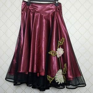 BETSEY JOHNSON NY Embellished Satin Party Skirt