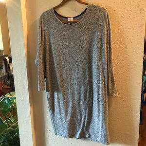 Long gray soft sweater dress