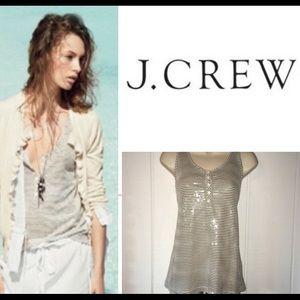 J. Crew - Gray & White Front Sequin Henley Tank