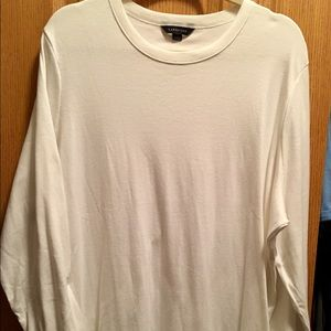 Lands' End 3X White Cotton Long-Sleeved Tee