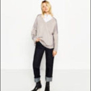 Zara light grey glossy sweater