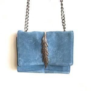 Blue suede Zara crossbody w/ metal feather clasp