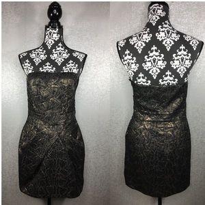 Karen Millen Metallic Gold Strapless Dress