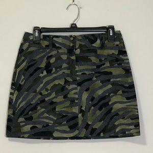 Express: army green camo mini skirt