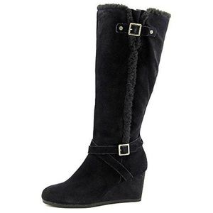 New Round Toe Suede Black Knee High Wedge Boot