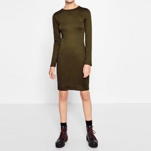 Long sleeve body con dress in Khaki Green Zara SzM