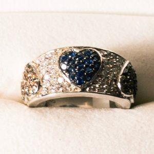 3 Hearts Sterling silver multicolored stones
