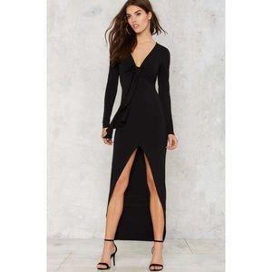 NWT Nasty Gal black high low long sleeve dress
