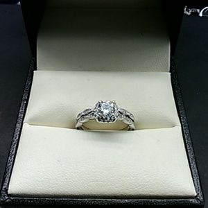 1.25 AAA Diamond Solid 925 Sterling Engagement Set