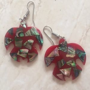 Gorgeous little red turtle mosaic earrings