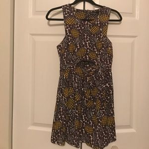 Topshop Pineapple Print Cutout Fit and Flare Dress