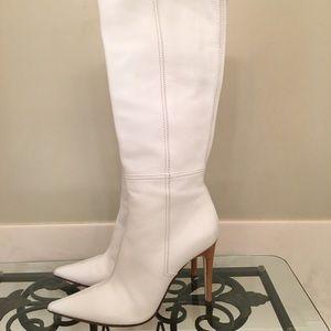 Casadei winter white leather boots 9 EUC!