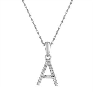 """14K Gold w/ Diamonds Initial Letter Necklace 16"""""""