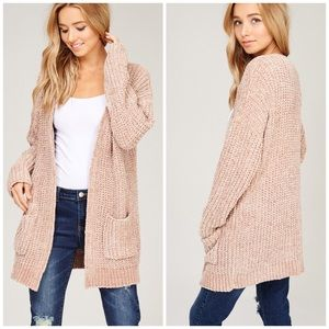 Chenille Cardigan Taupe Arrives 11/15 reserve now!