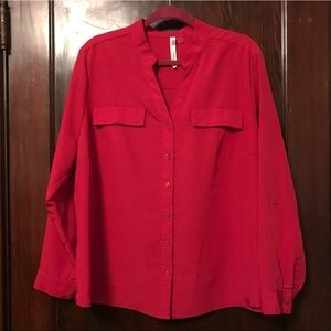 Long Sleeve Silky Red Blouse