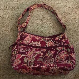Vera Bradley quilted fushia paialey shoulder bag