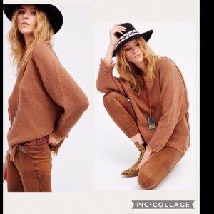 NWT Free People Irresistible Fringe Brown Sweater