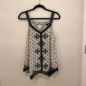 NWT Lucky Brand Patterned Blouse w/ Lace Detail