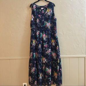 XXL Merona Navy Floral Maxi Dress