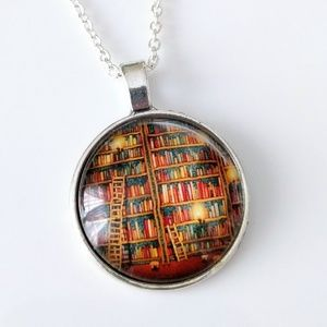 Library pendant necklace
