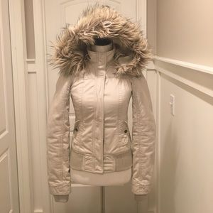 Hollister Fur Coat With Detachable Fur Hood