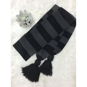 Black and Grey Scarf with Tassels